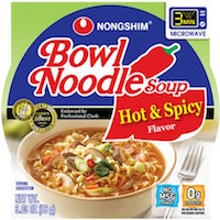 Nongshim Hot & Spicy Flavor Bowl Noodle Soup, 3.03 oz, 12 count $9.99 (was $10.68)