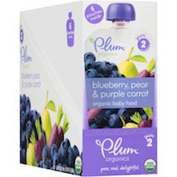 Plum Organics Stage 2 Blueberry, Pear & Purple Carrot Organic Baby Food, 4 oz, 6 count $7.50 (was $8.28)