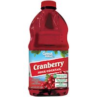 Great Value Cranberry Cocktail, 64 fl oz $1.88 (was $2.28)