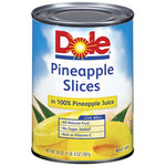 Dole Canned Fruit Slices In 100% Pineapple Juice Pineapple, 20 oz $1.36
