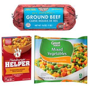 $6.39  1. 85% Lean/15% Fat, Ground Beef Round Roll, 1 lb 2. Betty Crocker Cheeseburger Macaroni Hamburger Helper, 6.6 oz  3. Great Value Mixed Vegetables, Frozen, 12 oz