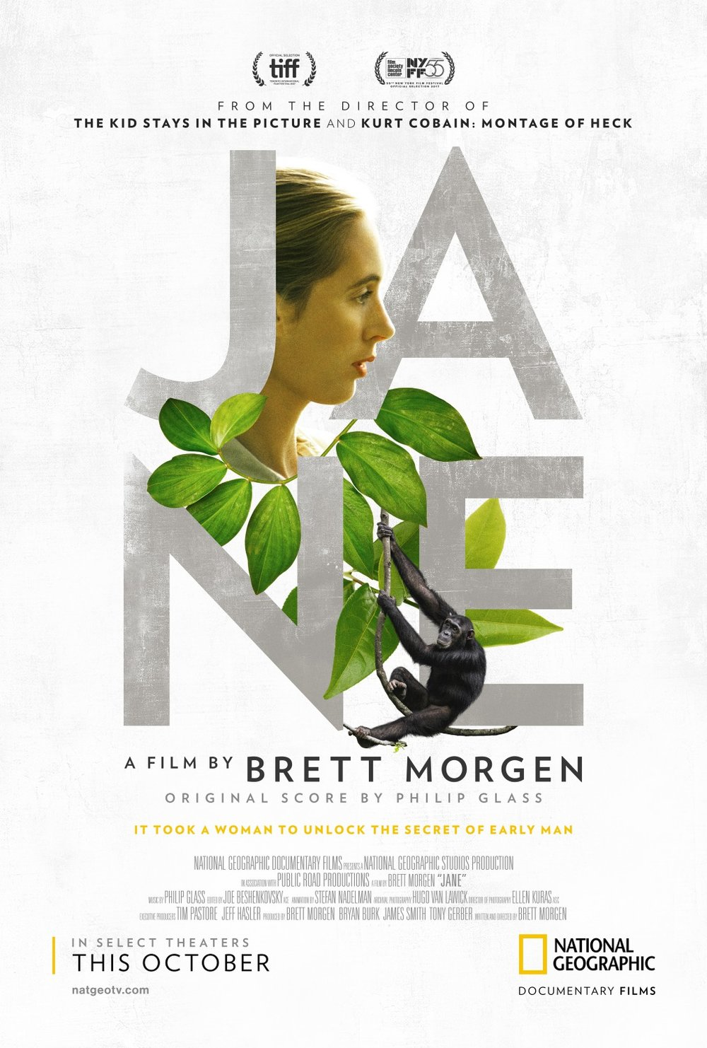 director:  Brett Morgen  writer:  Brett Morgen  cinematographer:  Hugo van Lawick, Ellen Kuras  editor:  Joe Beshenkovsky  composer:  Philip Glass  cast:  Jane Goodall, Hugo van Lawick  country:  USA  year:  2017