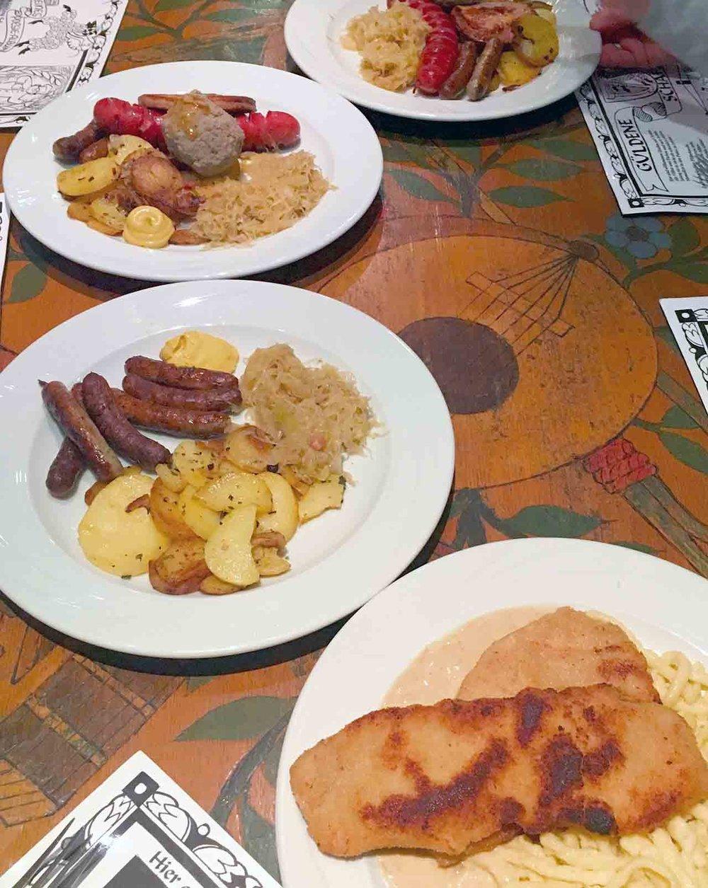 Spätzle, schnitzel, sausages, and sauerkraut in Heidelberg.