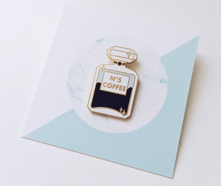 Hannah Bottino 'Coffee No. 5' pin, $10 (via Sipp Curated Goods)