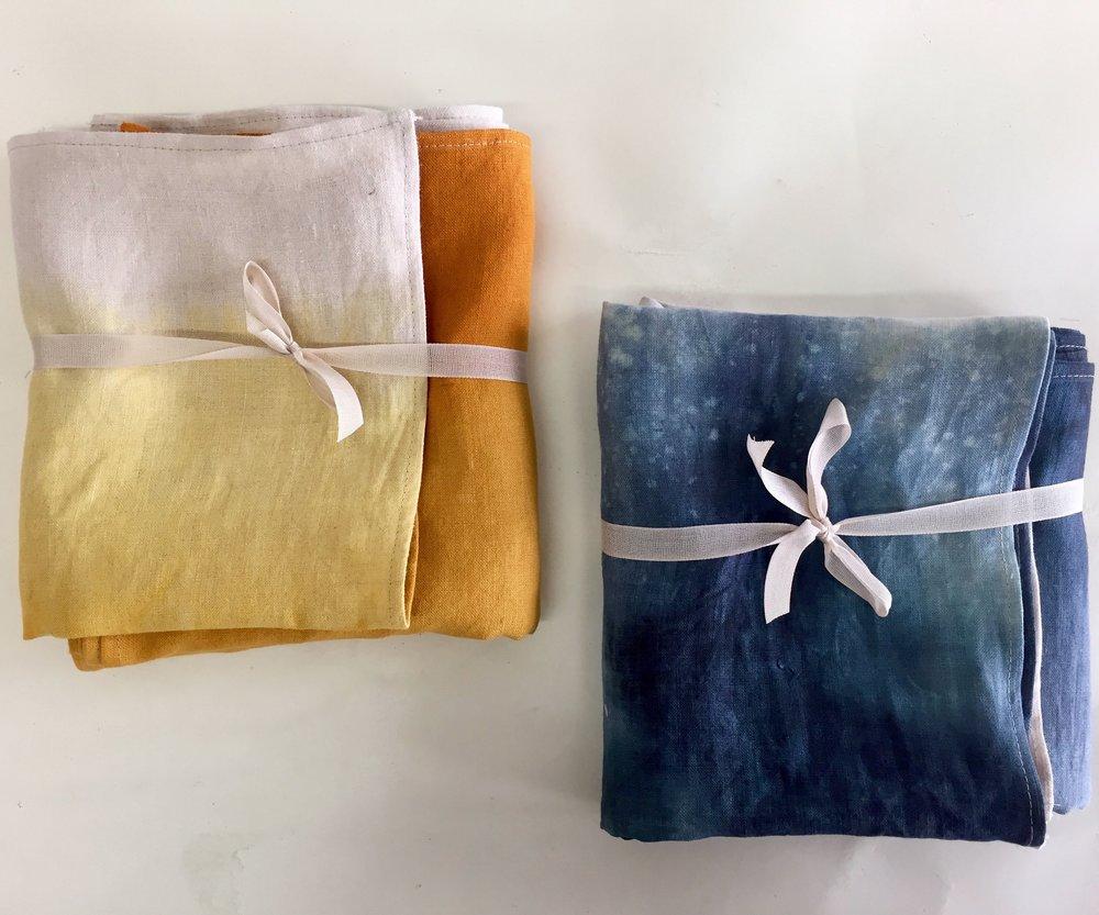 Jill Aiko Yee saffron dip dye linen towel & napkin set,  $53