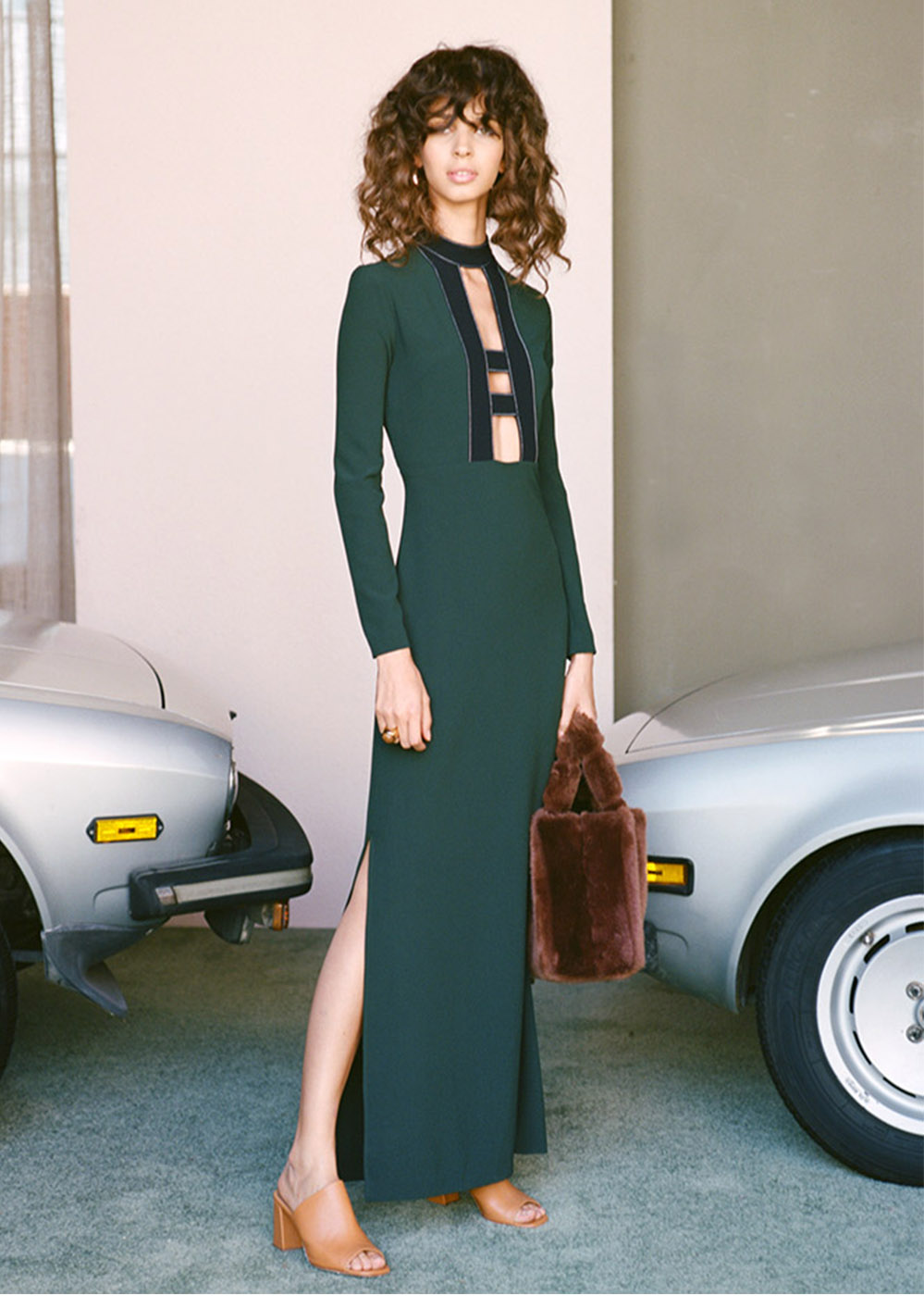 Staud 'Myo' dress in Dark Green, $255