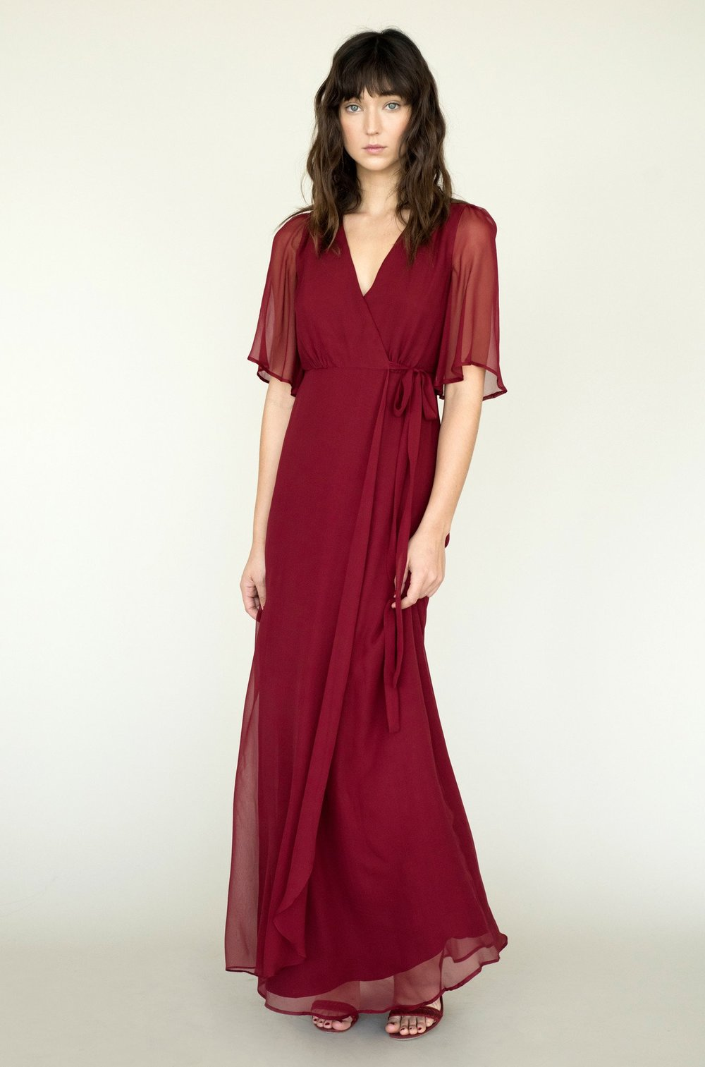 Lily Ashwell 'Aurora' dress in Crimson Silk, $450