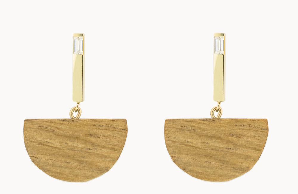 Vrai & Oro x Sophie Monet 'Half Moon Bar' earrings,  $450