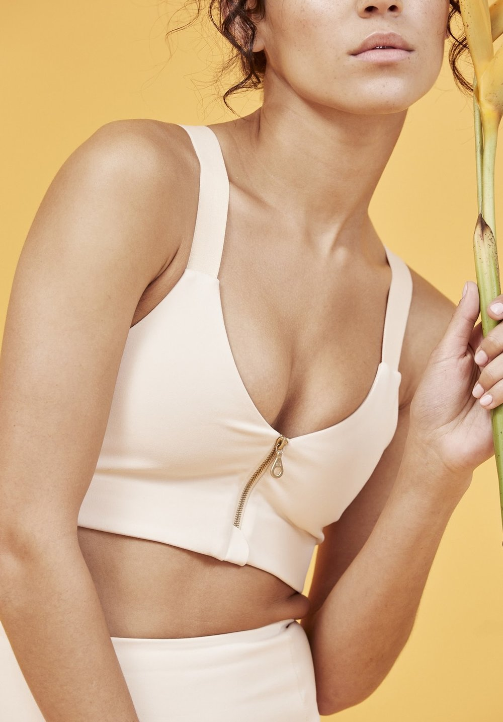 Girlfriend Collective 'Monroe' bra in Sand Dollar,  $48