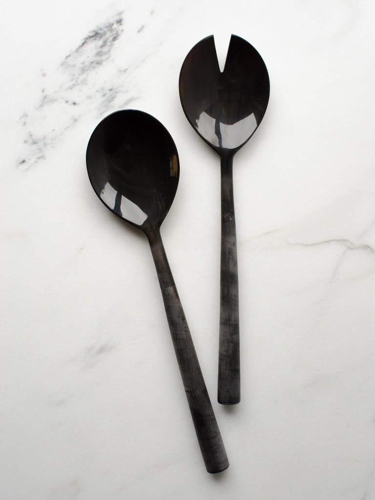 Shop Tenzo buffalo horn salad servers,  $96