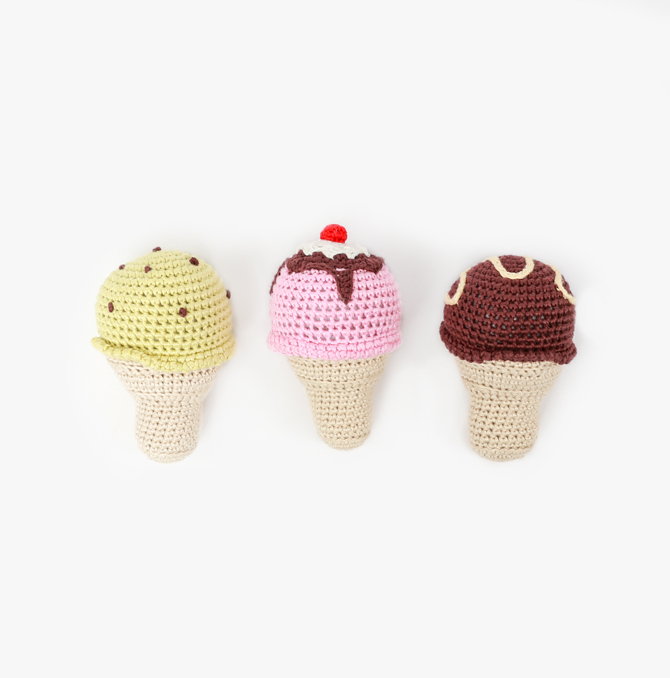 Cheengoo ice cream rattles,  $12/each