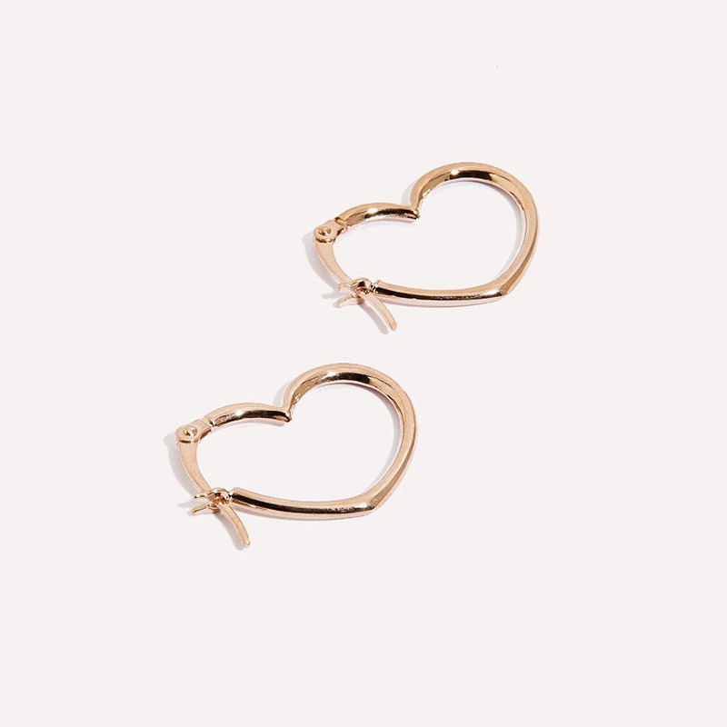 Amarilo heart seam hoops in 14k rose gold,  $250
