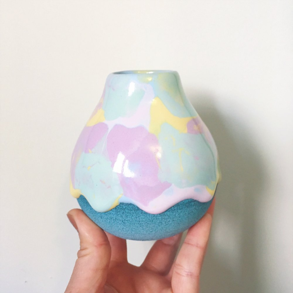 Brian Giniewski 'Drippy Sherbet' bud vase,  $50  (image via  @theradder )