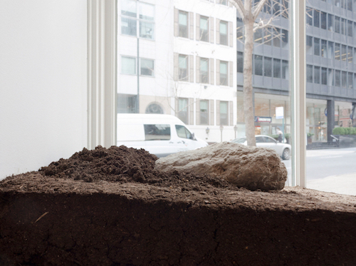 Moving Earth/Moviendo Tierra, 2017 | (detail) Rammed soil from the U.S. with Adobe Brick shipped from Saltillo, Mexico installed at Instituto Cervantes in NY.