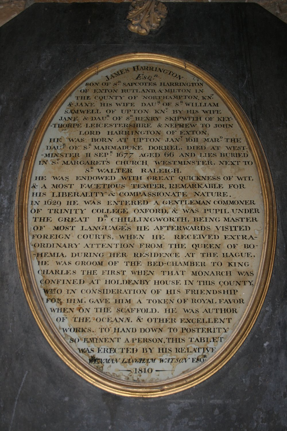 Plaque commemorating James Harrington in Upton Church, Northants. Photograph by John Gurney.