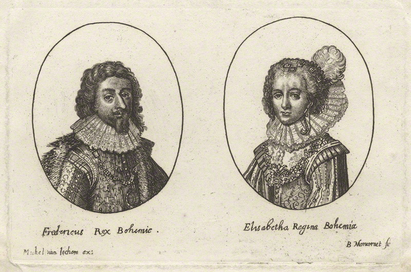 Frederick V King of Bohemia and Elector Palatine and Princess Elizabeth Queen of Bohemia and Electress Palatine, possibly by Balthasar Moncornet, after unknown artist, early 17th century. NPGD26454. Reproduced under a creative commons licence from the National Portrait Gallery.