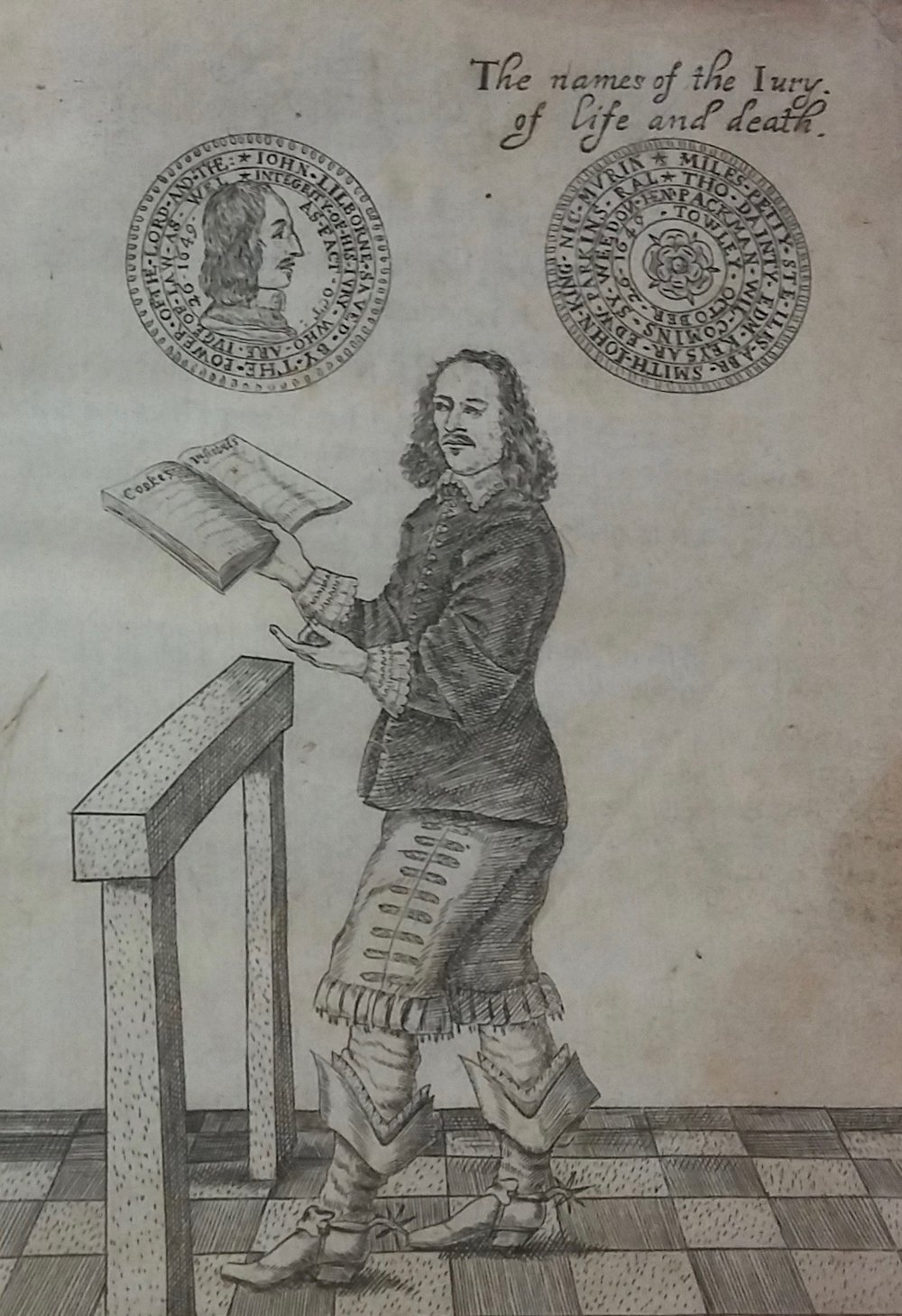 John Lilburne from  The trials of Lieut. Colonel John Lilburne  (London, 1649). Courtesy of the Special Collections Department at the Robinson Library, Newcastle University.