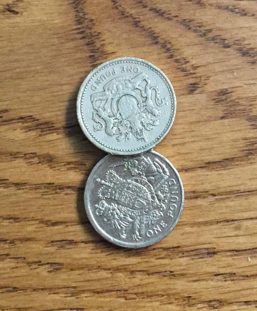 Old £1 coins. Image Rachel Hammersley.