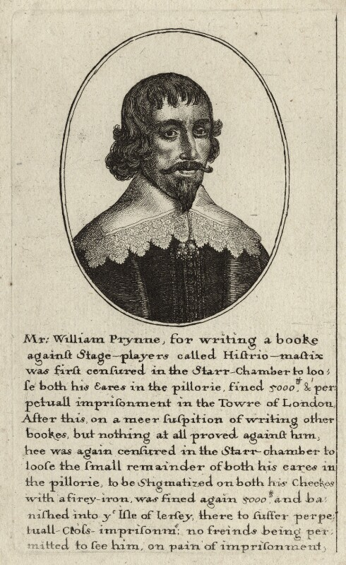 William Prynne by Wenceslaus Hollar, National Portrait Gallery, NPG D26981. Reproduced under a creative commons license.