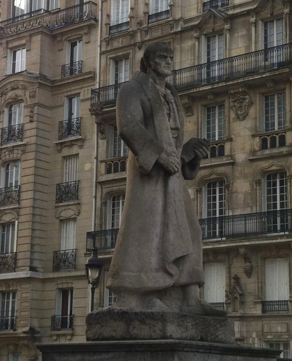Statue of Jean-Jacques Rousseau outside the Pantheon in Paris. Image by Rachel Hammersley.