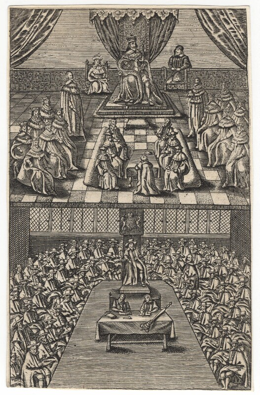 House of Lords and House of Commons during King Charles I's reign, c. 1640-42, artist unknown. National Portrait Gallery, NPG D18316. Reproduced under a creative commons license.