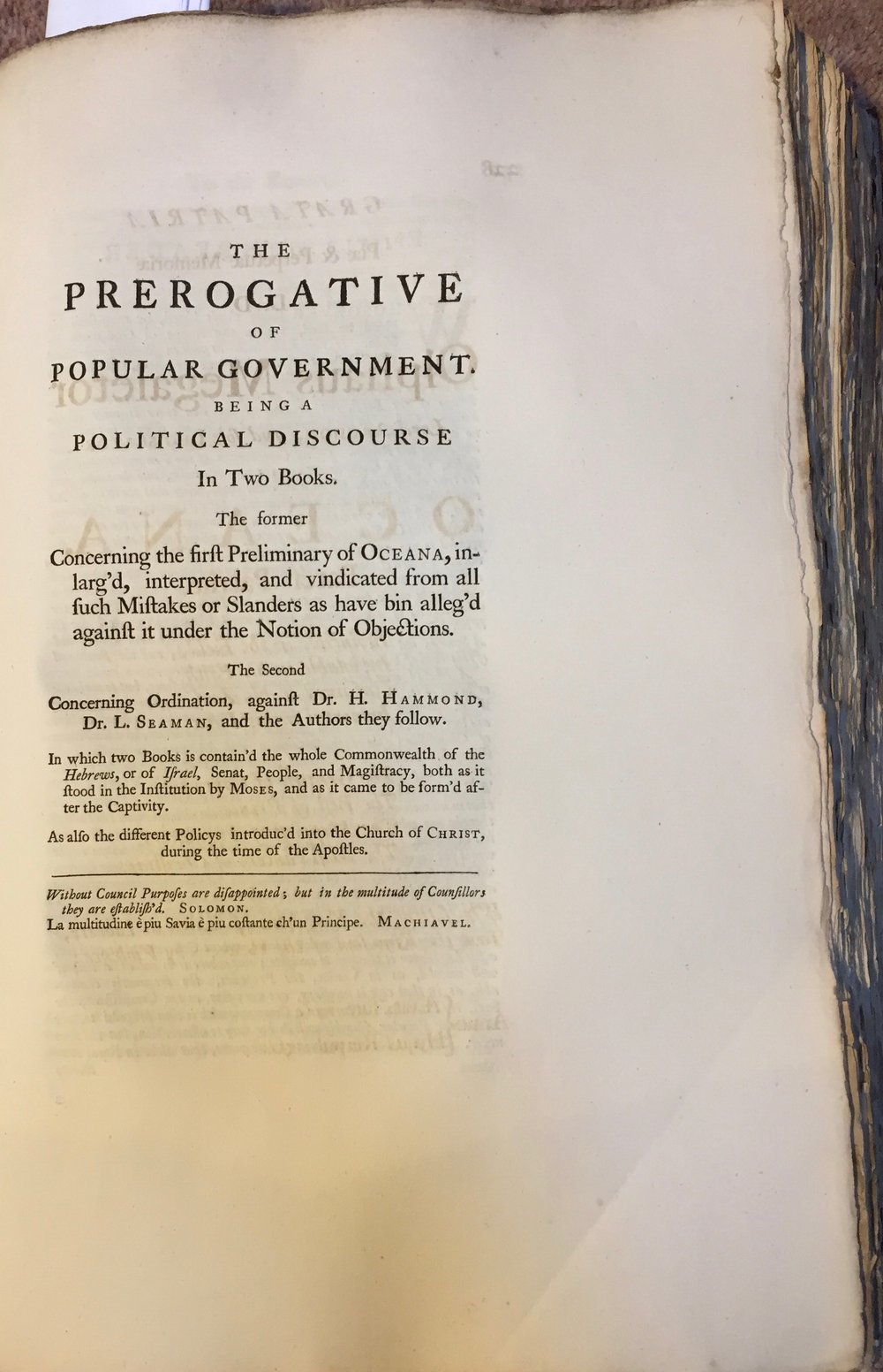 Title page to  The Prerogative of Popular Government  from  The Oceana and Other Works of James Harrington,  ed. John Toland (London, 1737). Private copy. Image by Rachel Hammersley.