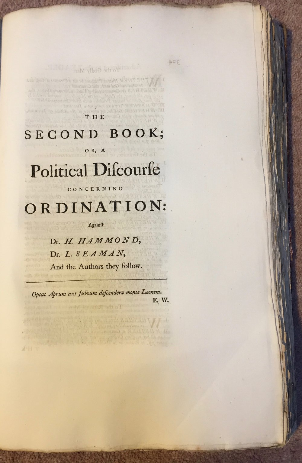 Title page to second book of  The Prerogative of Popular Government  from  The Oceana and Other Works of James Harrington,  ed John Toland (London, 1737). Private copy. Image by Rachel Hammersley.