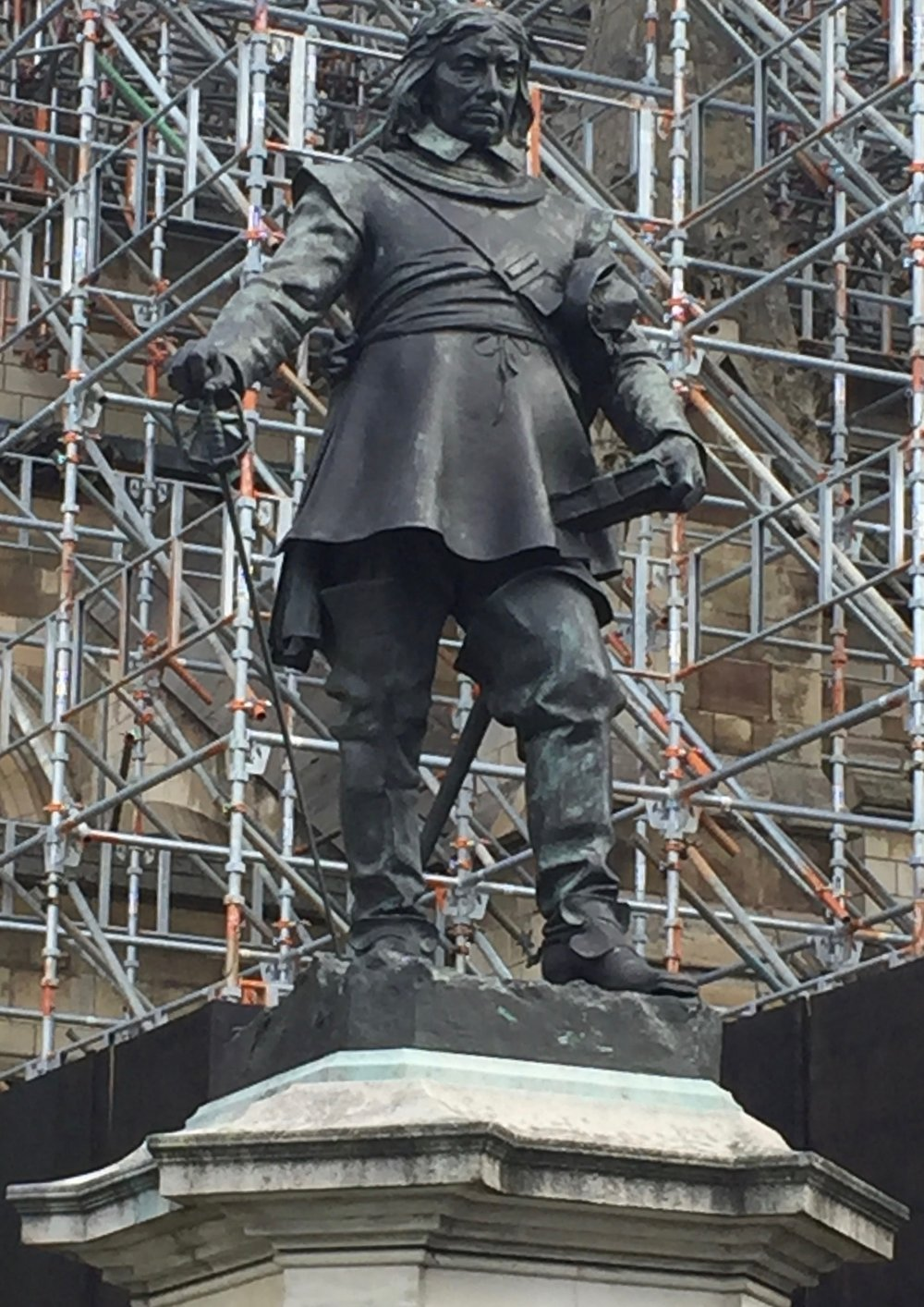 Statue of Oliver Cromwell at Westminster. Image by Rachel Hammersley