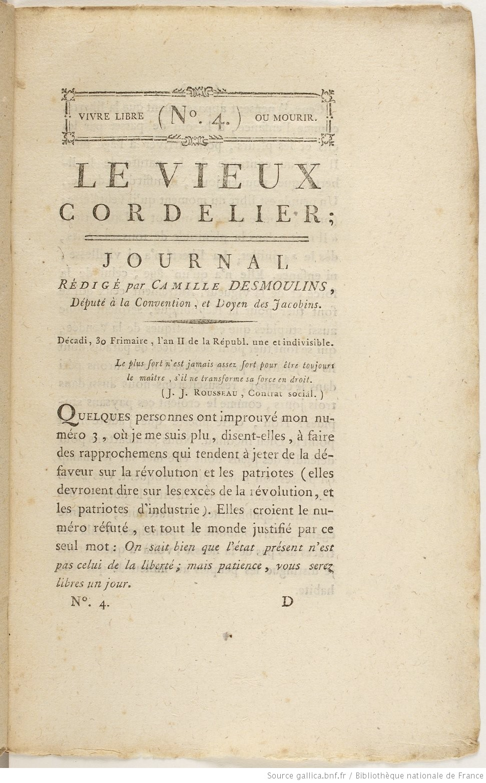 Camille Desmoulins,  Le Vieux Cordelier , no. 4. Taken from Gallica, Bibliothèque nationale de France, http://gallica.bnf.fr/ark:/12148/