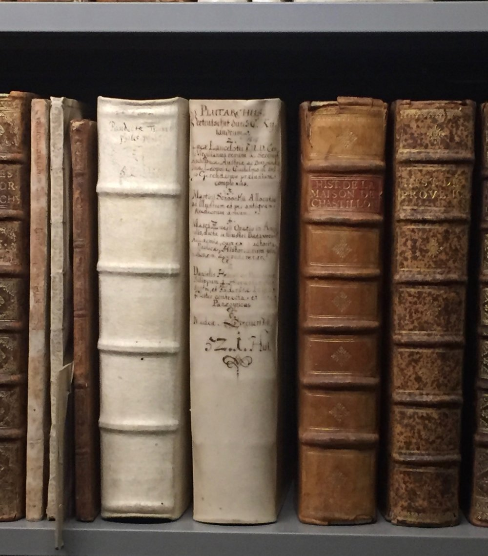 Books from Duke August's library. Photograph by Rachel Hammersley