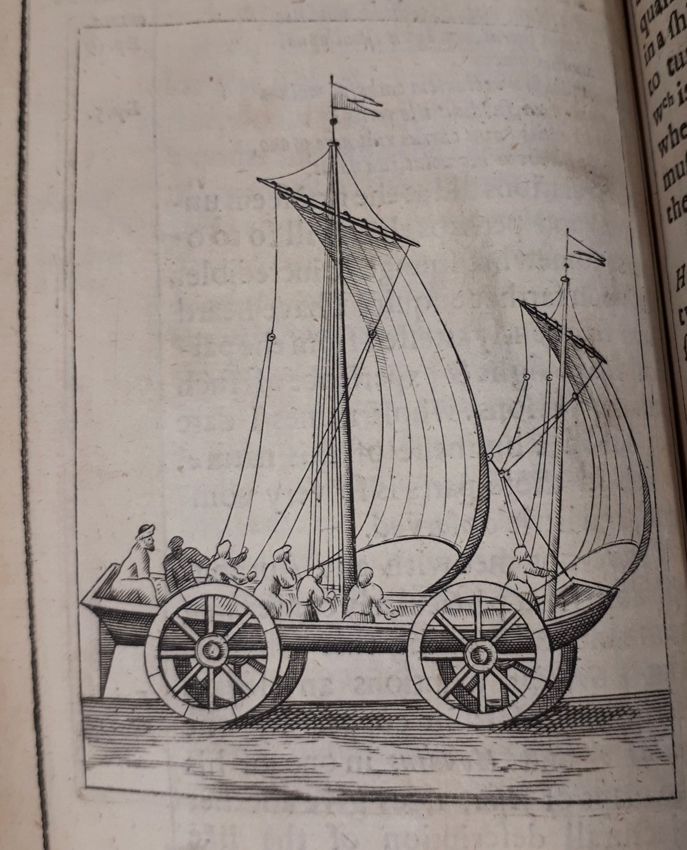 Unfortunately no illustrations of the submarine or flying chariot appear in the text, but this image and the next are of the 'sailing chariot' which Wilkins also discusses.