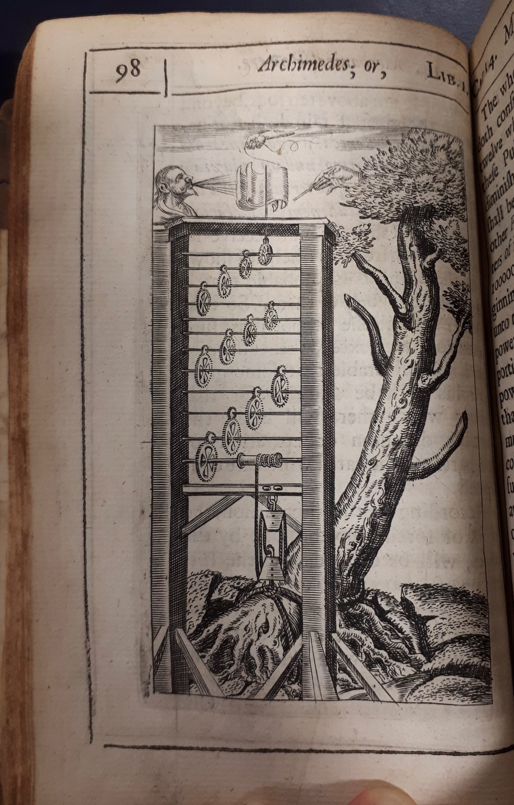 Harrington ridiculed Wilkins's suggestion, illustrated here, that it would be possible to uproot a tree using only a machine constructed of two double pulleys, twelve wheels and a sail.