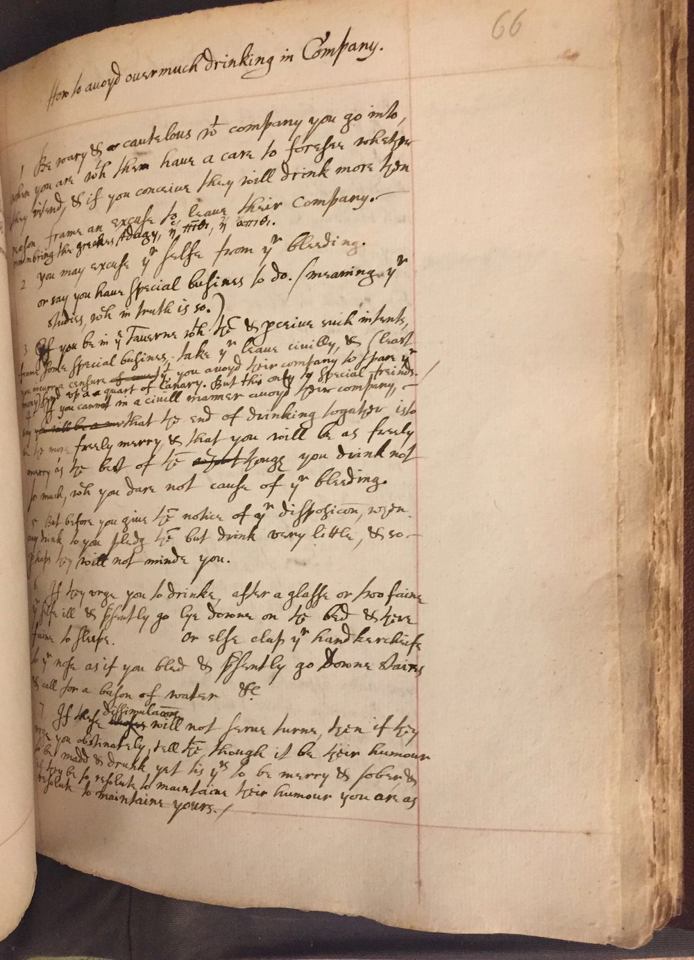 'How to avoyd overmuch drinking in Company' from Pagitt's Memorandum Book. AD MS. 4174 ff.66-7.