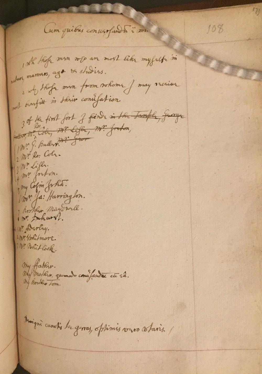 'Cum quibus conversando est' from Pagitt's Memorandum Book. Add MS. 4174 f.108.