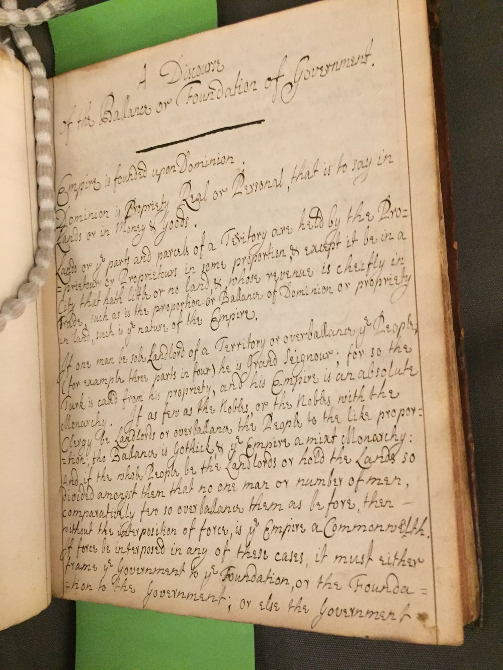 'A Discourse of the Ballance or Foundation of Government'. Reprinted with permission @British Library Board, Harleian MS 5063 f.17.