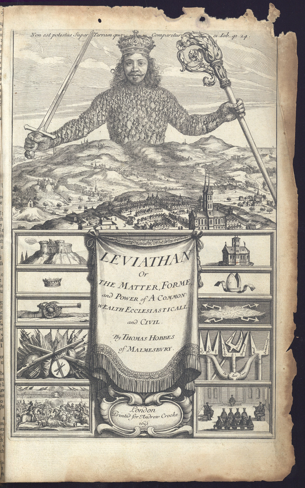 Thomas Hobbes,  Leviathan  (London, 1651). Reproduced with permission from the Robinson Library, University of Newcastle. Special Collections, Bainbrigg (BAI 1651 HOB). With thanks to Sam Petty.