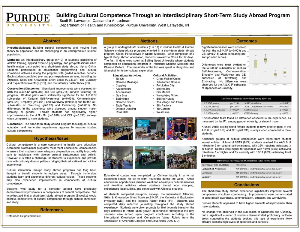 Building Cultural Competence Through an Interdisciplinary Short-Term Study Abroad Program  Scott E. Lawrance Cassandra A. Ledman