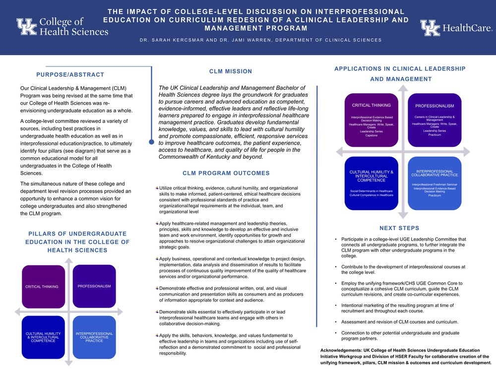 The Impact of College-Level Discussion on Interprofessional Education on Curriculum Redesign of a Clinical Leadership and Management Program  Sarah Kercsmar Jami Warren