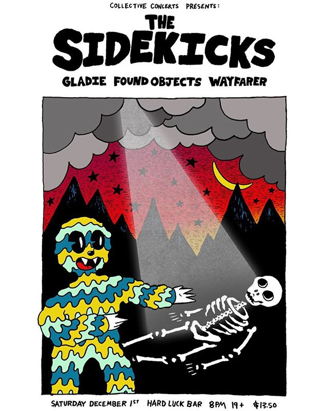 #poster for @sidekicksohio @gladie_band @wayfarerband @foundobjects666 @hardluckbar #toronto #design #posterdesign #showposter #punk #music  #drawing #doodle #goopdude #skeleton