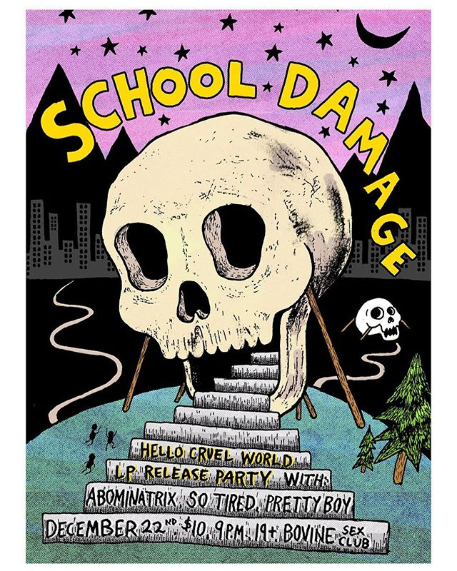 💀Poster for @schooldamage @so_tired_band @prettyboyband and Abominatrix at @bovinesexclub . . . . #skull #showposter #posterart #design #illustration #cartoon #scene #instaart #poster #show #toronto #torontomusic #skeleton #pink #art