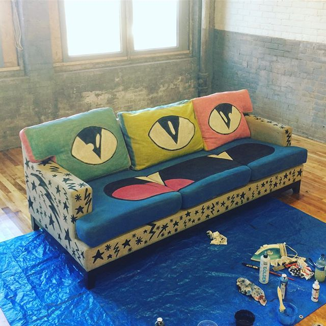 Okay so @bywitly got me to paint up some furniture for their new spot. This is the couch I fabric-painted—might add more colour to the beige base, not entirely sure yet. But yeah! This project is strange and fun, I am happy the way it is starting to come together. Over the next little while I will be heading to @cottonfactoryca and @bywitly to work on another chair, so stay tuned and thanks for following my Instagram account :) . . #couch #fabricpaint #goopdude #design #painting #art #installationart #functionalart #instaart #hamont