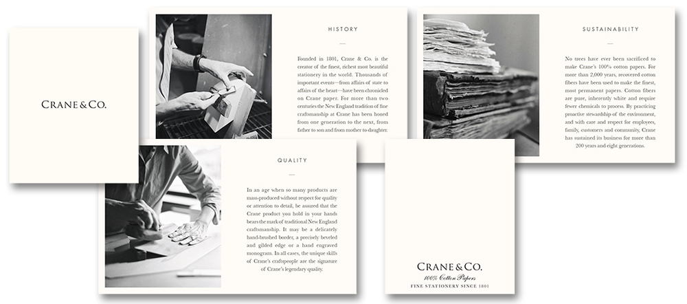 Crane & Co. brand booklet  |  Art Direction & Design