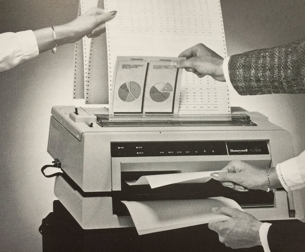 The Honeywell 4/66 color dot matrix printer, circa 1987.