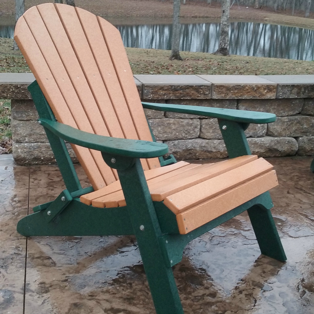 Incroyable Fan Back Amish All Weather Poly Adirondack Chair   CEDAR ON WOODLAND GREEN