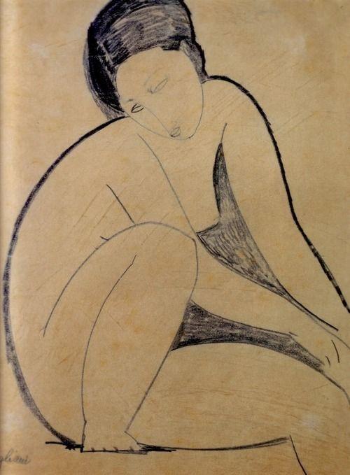 Artist: Amedeo Modigliani | Nu assis, 1918