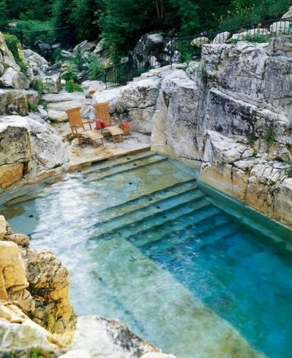 Photography: Unknown | La Carmejane Castle, Provence | Natural Limestone Pool