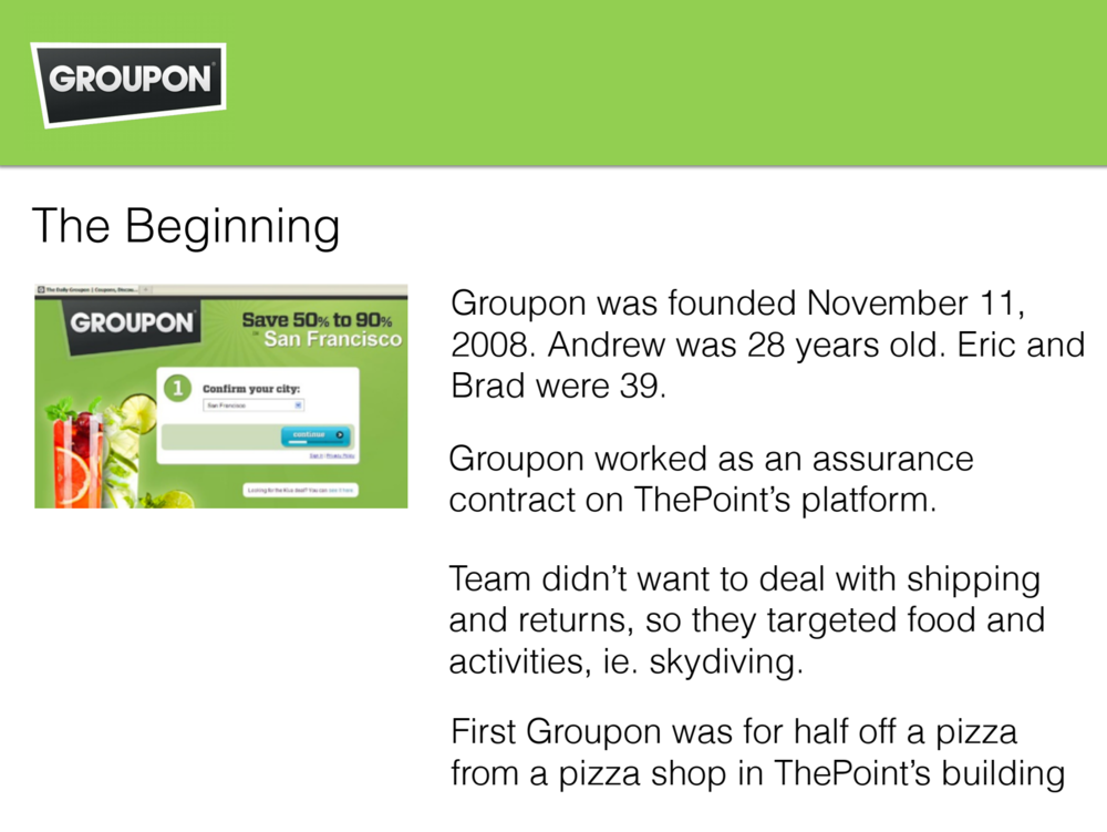 We deep-dove the founding story of Groupon - their founders, product, model, competitors, and market opportunity.