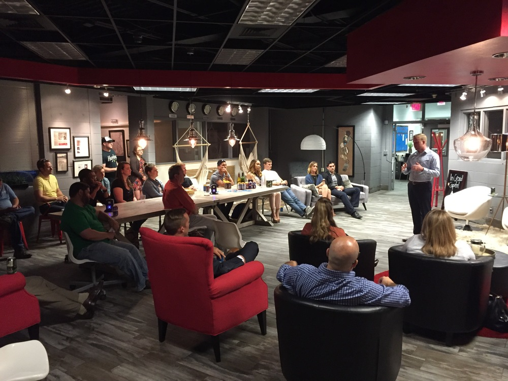 Ryan Macy drove down from Nashville to speak at 3210 about founding his healthcare-IT company, Satchel Health.