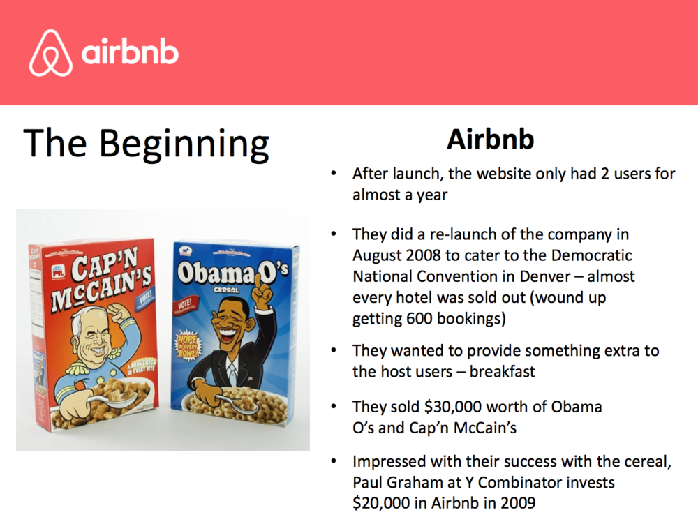 We deep-dove Airbnb and their meteoric rise as the millennials-focused platform for renting houses, apartments, and treehouses. Afterwards, we broke into teams and brainstormed new business ideas that leverage Airbnb's model.