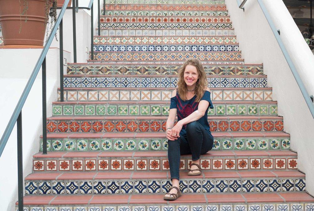 Enjoying the awesome spanish style steps at Paseo Nuevo!